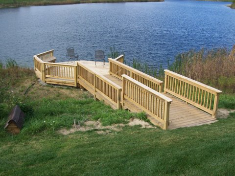 Designs in wood deck construction farmington hills milford for Waterfront deck designs